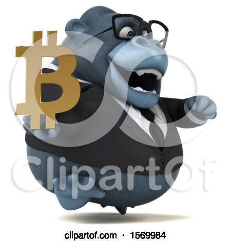 Clipart of a 3d Business Gorilla Mascot Holding a Bitcoin Symbol, on a White Background - Royalty Free Illustration by Julos