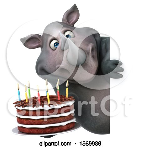 Clipart of a 3d Rhinoceros Holding a Birthday Cake, on a White Background - Royalty Free Illustration by Julos