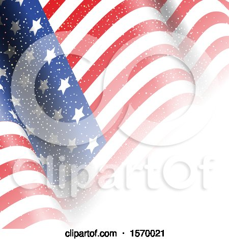 Clipart of a Rippling American Flag - Royalty Free Vector Illustration by KJ Pargeter