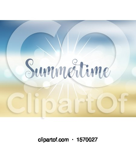Clipart of a Sunny Sunset Sky with Summertime Text - Royalty Free Vector Illustration by KJ Pargeter