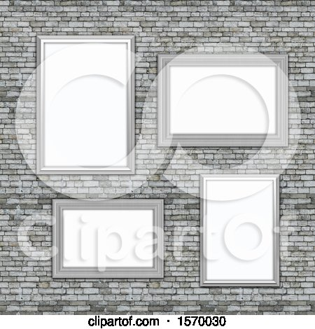 Clipart of a Background of 3d Blank Picture Frames on a Stone Wall - Royalty Free Illustration by KJ Pargeter