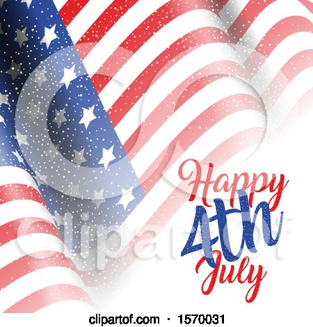 Clipart of a Rippling American Flag and Text - Royalty Free Vector Illustration by KJ Pargeter