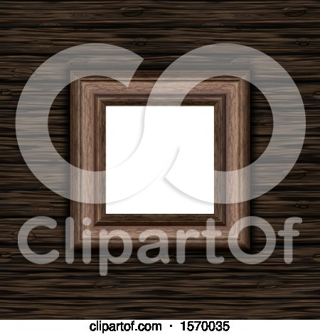 Clipart of a 3D Blank Picture Frame on a Wooden Texture Background - Royalty Free Illustration by KJ Pargeter