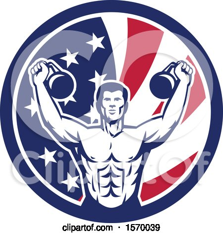 Clipart of a Retro Male Bodybuilder Working out with Kettlebells in an American Flag Circle - Royalty Free Vector Illustration by patrimonio