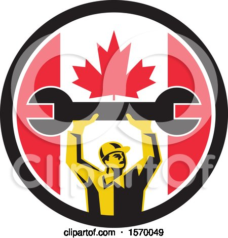 Clipart of a Retro Male Mechanic Holding up a Giant Wrench in a Canadian Flag Circle - Royalty Free Vector Illustration by patrimonio