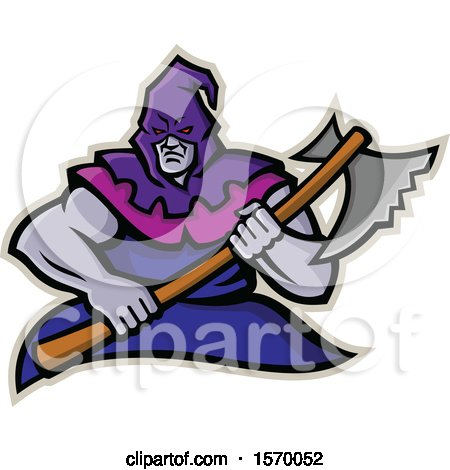 Clipart of a Mascot of a Hooded Medieval Executioner Holding an Axe - Royalty Free Vector Illustration by patrimonio