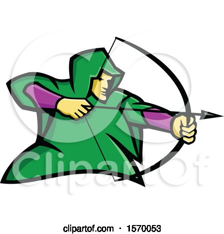 Clipart of a Mascot of Robin Hood or a Medieval Archer - Royalty Free Vector Illustration by patrimonio