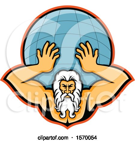 Clipart of a Mascot of Atlas Holding up a Globe - Royalty Free Vector Illustration by patrimonio