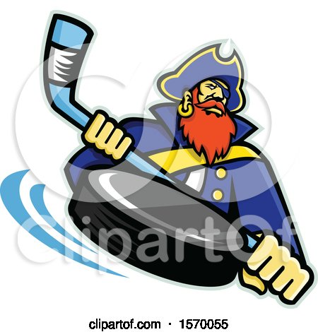 Clipart of a Hockey Sports Pirate Mascot Holding a Stick, with a Flying Puck - Royalty Free Vector Illustration by patrimonio
