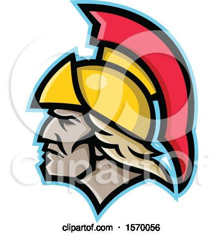 Clipart of a Mascot of Achilles in Profile - Royalty Free Vector Illustration by patrimonio
