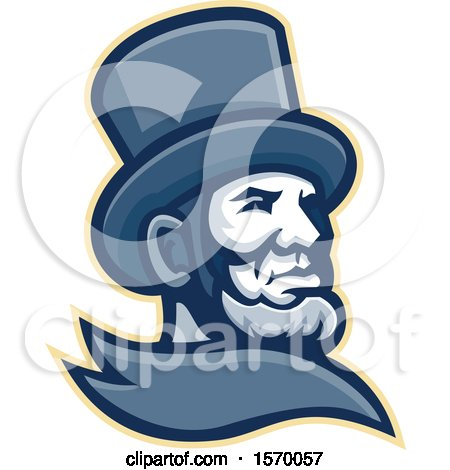 Clipart of a Mascot of Abraham Lincoln in a Top Hat - Royalty Free Vector Illustration by patrimonio