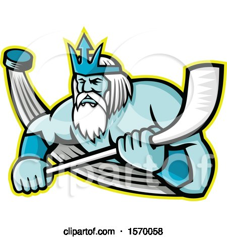 Clipart of a Hockey Sports Mascot of Poseidon Holding a Stick, with a Flying Puck - Royalty Free Vector Illustration by patrimonio
