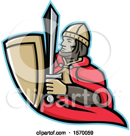 Clipart of a Mascot of a Medieval King Holding a Sword and Shield - Royalty Free Vector Illustration by patrimonio