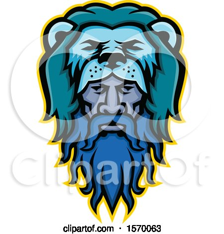 Clipart of a Mascot of Hercules Wearing a Lion Pelt - Royalty Free Vector Illustration by patrimonio