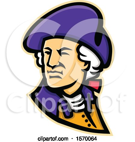 Clipart of a Mascot of George Washington Looking over His Shoulder - Royalty Free Vector Illustration by patrimonio