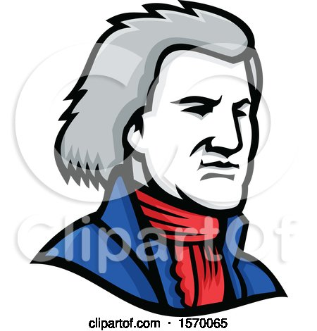 Clipart of a Mascot of Thomas Jefferson - Royalty Free Vector Illustration by patrimonio