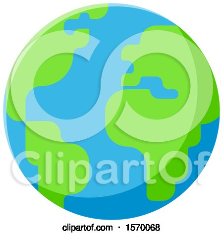 Clipart of a Bright Green and Blue Earth Globe - Royalty Free Vector Illustration by elena
