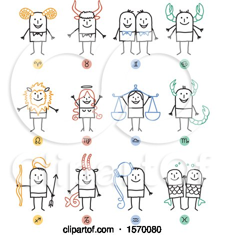 Clipart of Horoscope Astrology Zodiac Stick People - Royalty Free Vector Illustration by NL shop