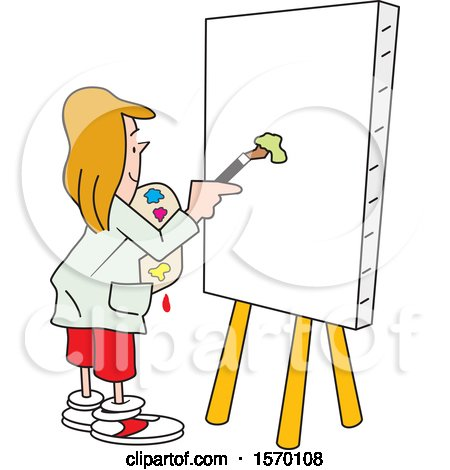 Clipart of a Woman About to Paint Art on a Blank Canvas - Royalty Free Vector Illustration by Johnny Sajem