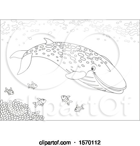 Clipart of a Lineart Blue Whale Swimming with Fish - Royalty Free Vector Illustration by Alex Bannykh