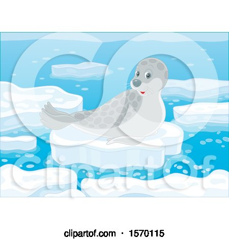 Clipart of a Spotted Seal on an Ice Floe - Royalty Free Vector Illustration by Alex Bannykh