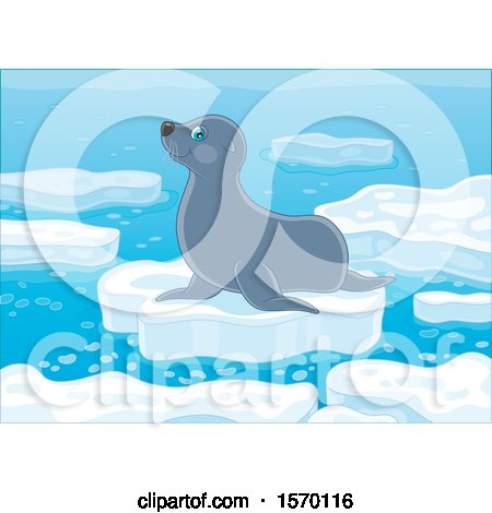 Clipart of a Cute Seal on an Ice Floe - Royalty Free Vector Illustration by Alex Bannykh
