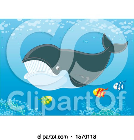 Clipart of a Whale Swimming with Fish - Royalty Free Vector Illustration by Alex Bannykh