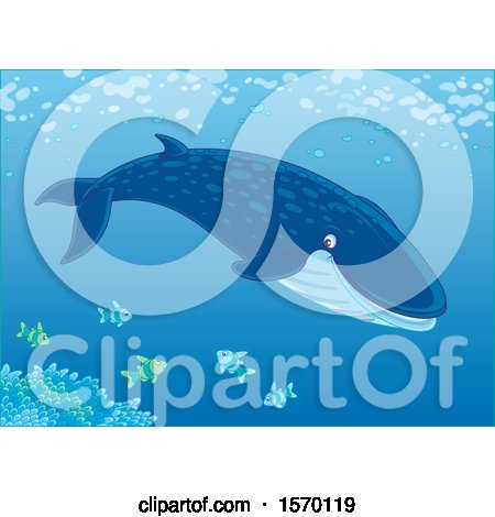 Clipart of a Blue Whale Swimming with Fish - Royalty Free Vector Illustration by Alex Bannykh