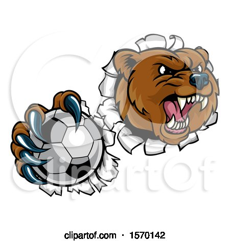Clipart of a Bear Sports Mascot Breaking Through a Wall with a Soccer Ball in a Paw - Royalty Free Vector Illustration by AtStockIllustration