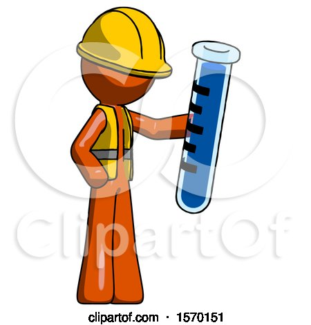 Orange Construction Worker Contractor Man Holding Large Test Tube by Leo Blanchette