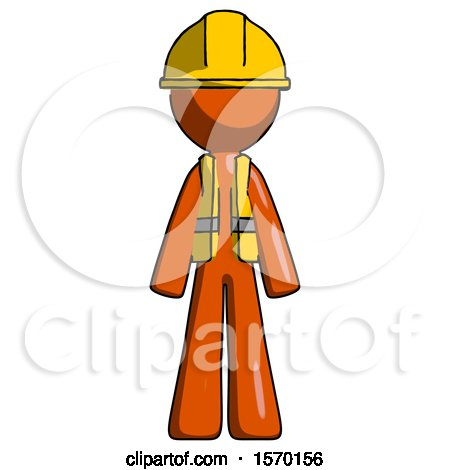 Orange Construction Worker Contractor Man Standing Facing Forward by Leo Blanchette