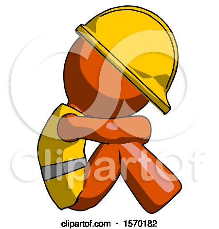 Orange Construction Worker Contractor Man Sitting with Head down Facing Sideways Right by Leo Blanchette