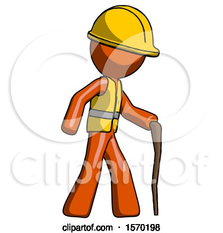 Orange Construction Worker Contractor Man Walking with Hiking Stick by Leo Blanchette