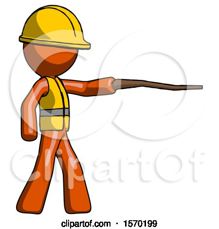Orange Construction Worker Contractor Man Pointing with Hiking Stick by Leo Blanchette