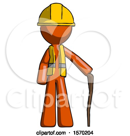 Orange Construction Worker Contractor Man Standing with Hiking Stick by Leo Blanchette