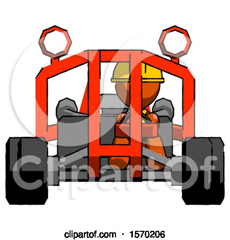 Orange Construction Worker Contractor Man Riding Sports Buggy Front View by Leo Blanchette