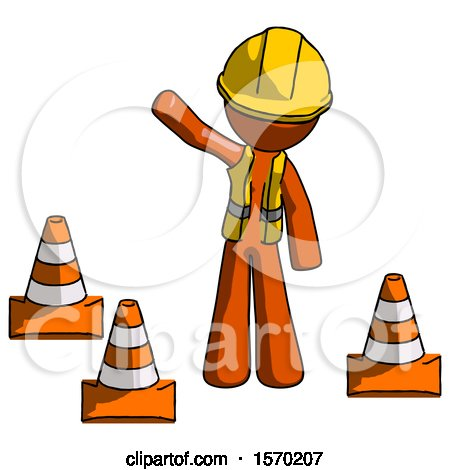Orange Construction Worker Contractor Man Standing by Traffic Cones Waving by Leo Blanchette