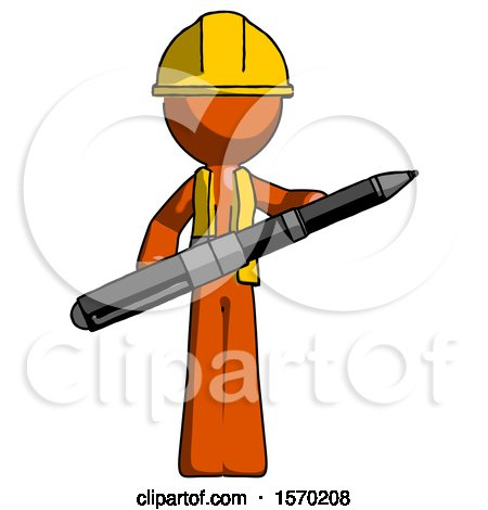 Orange Construction Worker Contractor Man Posing Confidently with Giant Pen by Leo Blanchette