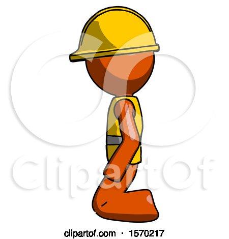 Orange Construction Worker Contractor Man Kneeling Left by Leo Blanchette