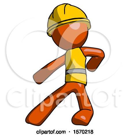 Orange Construction Worker Contractor Man Karate Defense Pose Left by Leo Blanchette