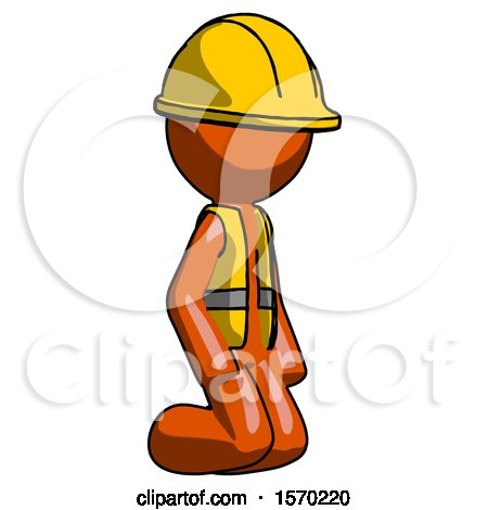 Orange Construction Worker Contractor Man Kneeling Angle View Right by Leo Blanchette