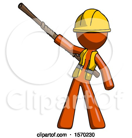 Orange Construction Worker Contractor Man Bo Staff Pointing up Pose by Leo Blanchette