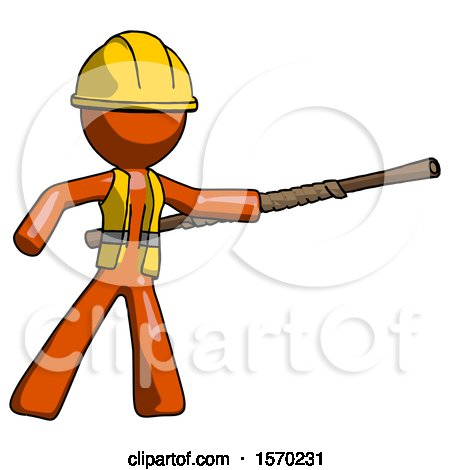 Orange Construction Worker Contractor Man Bo Staff Pointing Right Kung Fu Pose by Leo Blanchette