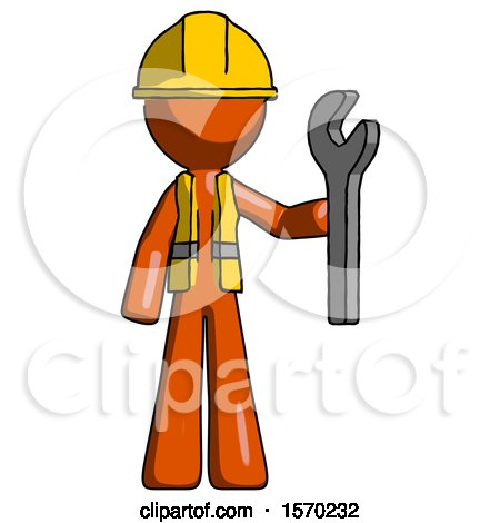Orange Construction Worker Contractor Man Holding Wrench Ready to Repair or Work by Leo Blanchette
