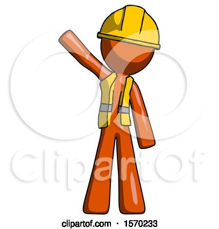 Orange Construction Worker Contractor Man Waving Emphatically with Right Arm by Leo Blanchette