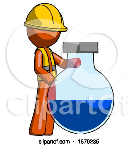 Orange Construction Worker Contractor Man Standing Beside Large Round Flask or Beaker by Leo Blanchette