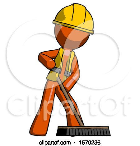 Orange Construction Worker Contractor Man Cleaning Services Janitor Sweeping Floor with Push Broom by Leo Blanchette