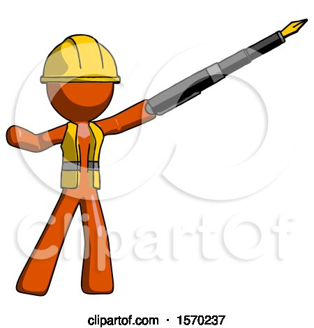 Orange Construction Worker Contractor Man Pen Is Mightier Than the Sword Calligraphy Pose by Leo Blanchette