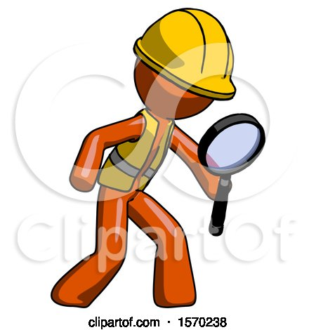 Orange Construction Worker Contractor Man Inspecting with Large Magnifying Glass Right by Leo Blanchette