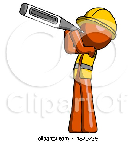 Orange Construction Worker Contractor Man Thermometer in Mouth by Leo Blanchette